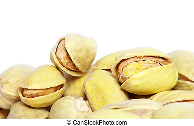 pistachios - Isolated pistachios on a white background