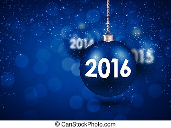 2016 New Year card. - 2016 New Year card with blue balls.