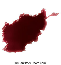 A pool of blood or wine that formed the shape of Afghanistan...