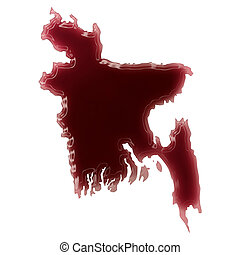 A pool of blood or wine that formed the shape of Bangladesh...