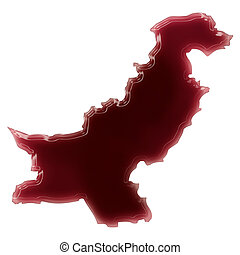 A pool of blood (or wine) that formed the shape of Pakistan....