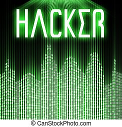 Hacker with cyber binary code background - Hacker with cyber...
