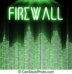 Firewall with cyber binary code technology background