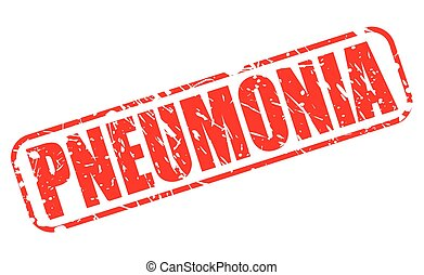 PNEUMONIA red stamp text on white