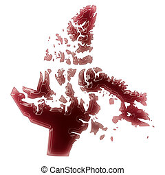 A pool of blood or wine that formed the shape of Nunavut...