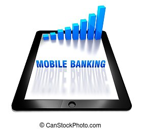 3d graph and mobile banking on digital tablet