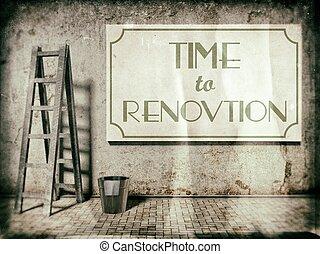 Refurbishment on building wall, Time to renovation -...