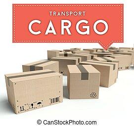 carico, scatole, cartone, trasporto