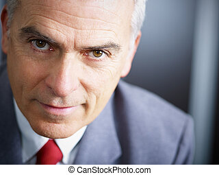 mature businessman looking at camera - closeup of mature...