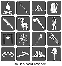 Camping icons - Set if monochrome camping icons. Vector EPS8...