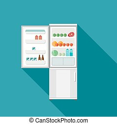 Fridge icon with open door Vector flat illustration