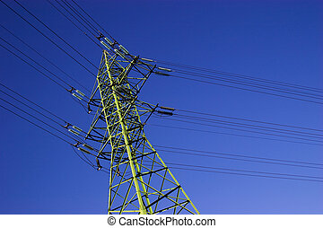 High voltage electric line - Green high voltage electric...