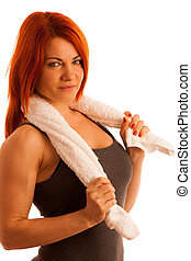 woman with towel after work out in fitness isolated over white background