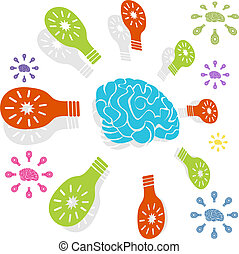 Brainy Idea Circle - Brain idea icon isolated on a white...