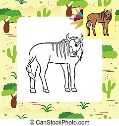 Illustration of a wildebeest Coloring page