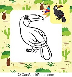 Toucan bird illustration. Coloring page. Vector