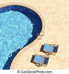 Swimming pool with deckchairs top view