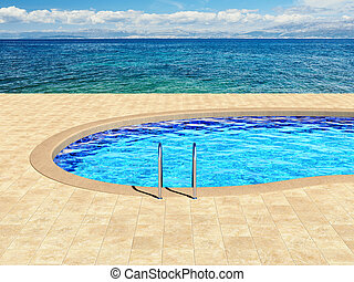 Swimming pool with beautiful view of sea