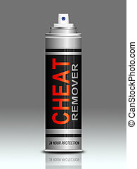 Cheat concept - Illustration depicting an aerosol can with a...