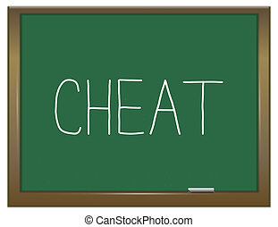 Cheat concept - Illustration depicting a green chalkboard...