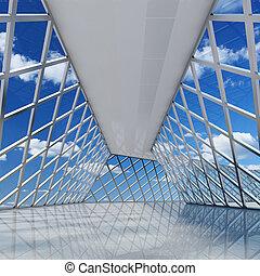 arquitetônico, desenho, de, modernos, corredor,