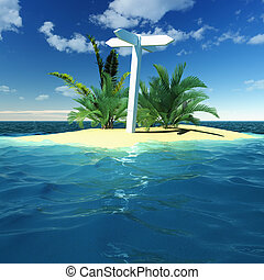 Blank signpost on a island - Blank signpost on a tropical...