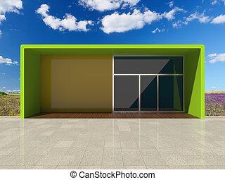 Architectural design shop among beautiful nature