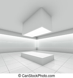 Empty modern shop with glass showcase 3D illustration