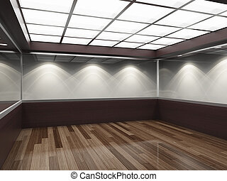 Empty modern shop with glass showcase. 3D illustration.