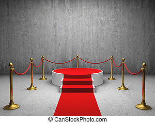 Podium for winner with red carpet in concrete room