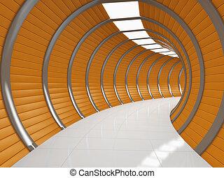 Modern long corridor - Modern illuminated long corridor