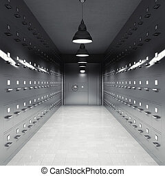 Room with file cabinets illuminated by lamps with metal door