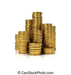 Gold coins in stack isolated on white background