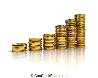 Gold coins in stack show growth isolated on white background