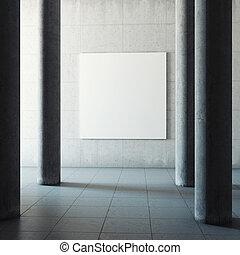 grande, concreto, corredor,