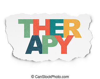Healthcare concept: Therapy on Torn Paper background
