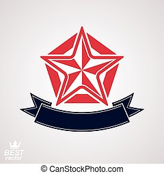 Stylized corporate branding icon, clear eps8 symbol. Vector simple pentagonal star with decorative ribbon, isolated on white background.