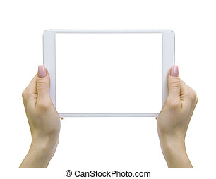 tablet pc - female hands holding a tablet touch computer...