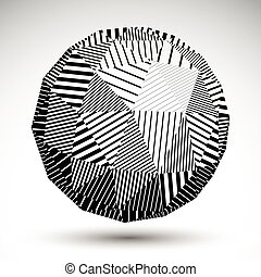 Geometric spherical structure with black parallel lines. Striped modern science and technology orbed figure isolated on white background.