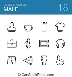 Male vector outline icon set - man, coffee, deodorant,...