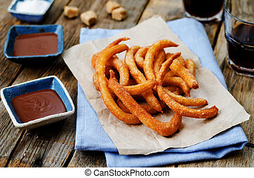 churros, con, chocolate, sauce, ,
