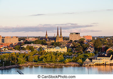 Charlottetown Churches at Dawn - View of Charlottetown,...