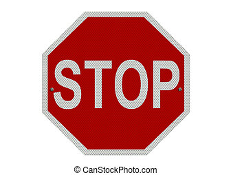 Stop sign, isolated - A red and white STOP sign, isolated on...
