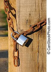 Heavy duty new padlock - A heavy duty shiny new silver...