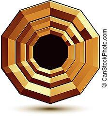 Sophisticated round vector emblem, 3d decorative design element, clear EPS 8.