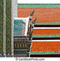 bangkok in the temple    sky and  colors religion mosaic