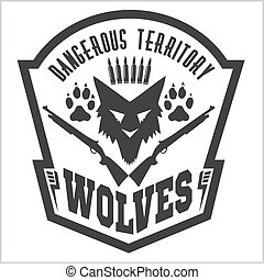 Security badge - military shield - Security badge - wolves...