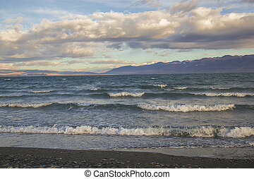 Wind and waves on the lake Uureg Nuur in Mongolia