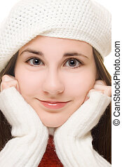 Beautiful young girl in winter outfit
