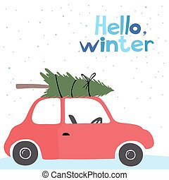 Card with a little red vintage car - Winter card with a...